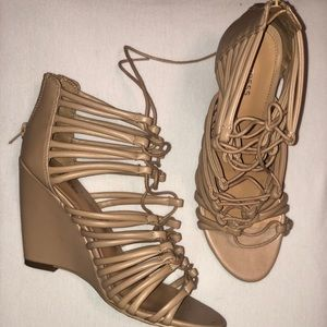 All Tan Tie- Up Wedge